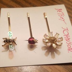 Betsey Johnson Bobby pins daisy, lady bug, bee